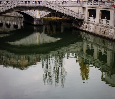 Detail of Tromostovje bridge on the Ljuljanica river in Ljubljana, Sovenia Imagens - 92877984