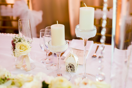 Detail of the luxury wedding table decoration Imagens