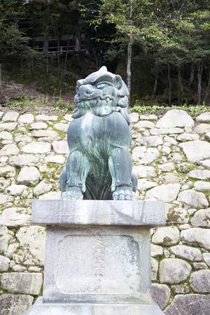 Guardian Lion Statue Komainu on Miyajima Island, Hiroshima, Japan