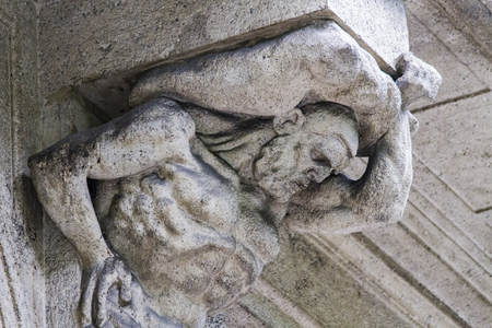 Detail from the old facade in Bergamo, Italy