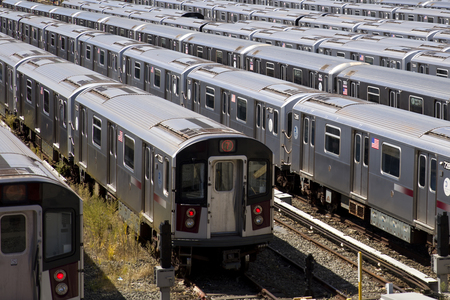 NEW YORK, USA - SEPTEMBER 1, 2016: New York City Transit subway depot in Queens, New York. NYC subway system have 6407 vehicles.