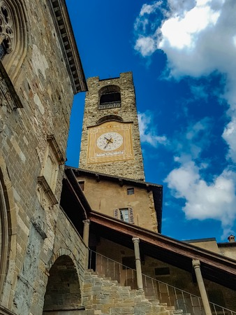 View at Old City Tower Of Bergamo, Italy