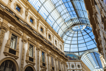 MILAN, ITALY - APRIL 22, 2017: Detail from Galleria Vittorio Emanuele II in Milan. It is one of the worlds oldest shopping malls, opened at 1877.