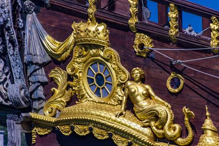 GENOA, ITALY - APRIL 29, 2017: Galleon Neptun in Porto antico in Genoa, Italy. It is a ship replica of a 17th century Spanish galleon built in 1985 for Roman Polanski's film Pirates.
