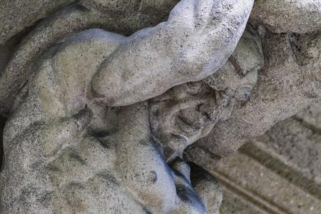イタリア、ベルガモの古いファサードからの詳細 写真素材
