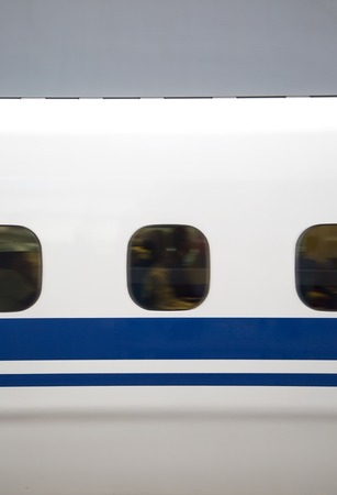 Closeup detail of the moving high speed train in Japan
