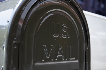 NEW YORK, USA - AUGUST 30, 2017: Detail of the US mail letterbox in New York. US postal servise as independent agnecy was formed in 1971.