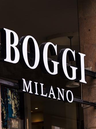 MILAN, ITALY - APRIL 24, 2017: Detail of Boggi store in Milan, Italy. Boggi Milan is established in 1939.