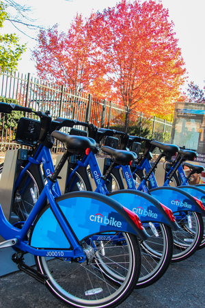 NEW JERSEY, USA - NOVEMBER 20, 2015: Citi Bike bicycles on the station in New Jersey, USA. This bike share system, have 50 stations in Jersey City Editorial