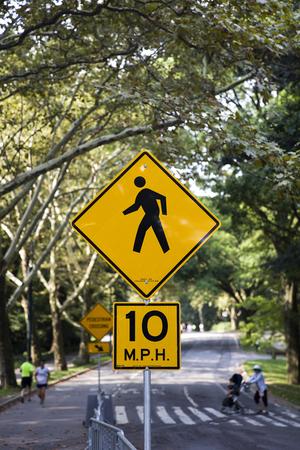 ニューヨーク市のセントラルパークの歩行者ゾーンサイン