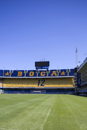 BUENOS AIRES, ARGENTINA - JANUARY 20, 2018: Detail from La bombonera stadium in Buenos aires, Argentina. It is Boca Juniors owned stadium and was built at  1938. Editorial