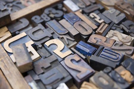 Closeup detail of the vintage old printing letters Banco de Imagens