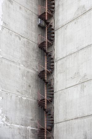 Closeup detail of the fire escape at  concrete urban building