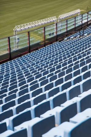 Closeup detail of the blue stadium seats Фото со стока