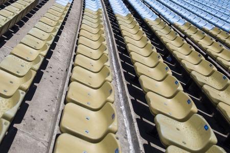 Closeup detail of the brown stadium seats