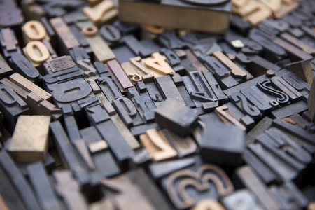 Closeup detail of the vintage old printing letters 스톡 콘텐츠
