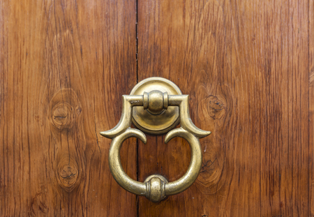 Detail of the vintage door knocker from Florence, Italy