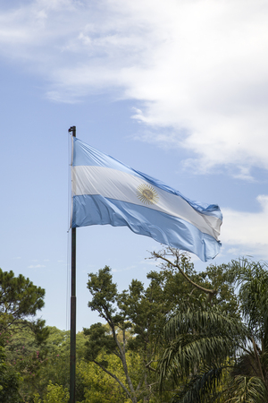 View at the Argentina flag in Buenos Aires