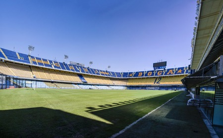 BUENOS AIRES, ARGENTINA - JANUARY 20, 2018: Detail from La bombonera stadium in Buenos aires, Argentina. It is Boca Juniors owned stadium and was built at  1938. Sajtókép
