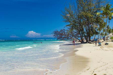 Unidentified tourists at the beach in Bavaro, Dominican Republic.
