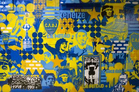 BUENOS AIRES, ARGENTINA - JANUARY 20, 2018: Detail from Museo de la Pasion Boquense in La Boca, Buenos Aires, Argentina. 報道画像