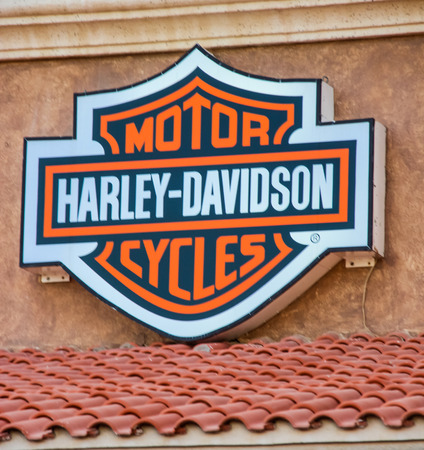 CABO SAN LUCAS, MEXICO - AUGUST 8, 2014: Detail of Harley Davidson store in Cabo San Lucas, Mexico. It  is an American motorcycle manufacturer, founded in 1903 Redakční