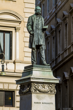 Monument of Italian economist and statesman Marco Minghetti in Rome, Italy. Monument was created by Lio Gangeri in 1895.