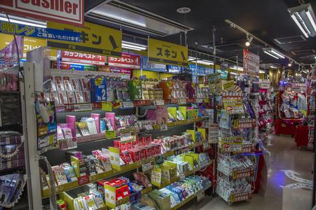 KYOTO, JAPAN - OCTOBER 11, 2016: Interior of the sex shop in Kyoto, Japan. 新聞圖片