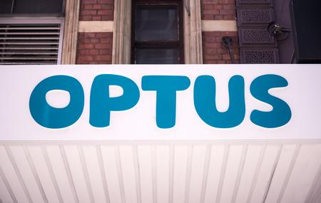 SYDNEY, AUSTRALIA - FEBRUARY 12, 2015: Detail of the Optus store in Sydney, Australia. Optus is the second largest telecommunications company in Australia