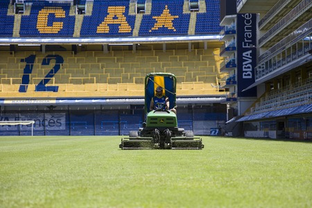 BUENOS AIRES, ARGENTINA - JANUARY 20, 2018: Lawnmower from La bombonera stadium in Buenos aires, Argentina. It is Boca Juniors owned stadium and was built at  1938.