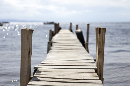 View at old wooden pier on Lake Titicaca