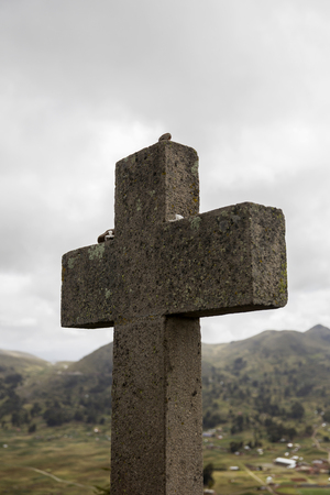 Cross at Cerro Calvario (Calvalry Hill) on lake Titicaca in Copacabana, Bolivia