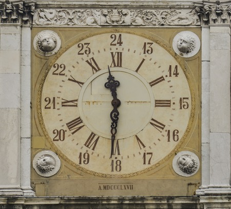 View at city hall tower clock from Modena, Italy