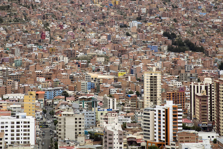 Aerial view at capital city of Bolivia, La Paz