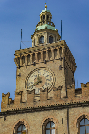View at clock Tower on Palazzo Comunale in Bologna. Italy Stock fotó