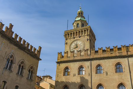 View at clock Tower on Palazzo Comunale in Bologna. Italy Stock Photo