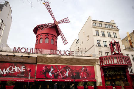 PARIS, FRANCE - JANUARY 24, 2018: View at Moulin Rouge in Paris, France. The original house, which burned down in 1915, was rebuilt in 1921. Redakční