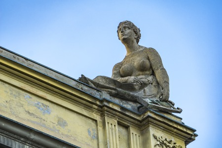 Sculptures on the roof of Arena del Sole Theatre in Bologna, Italy. This historc theatre was built in 1810.