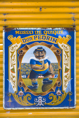 BUENOS AIRES, ARGENTINA - JANUARY 20, 2018: Detail from football museum, Mseum de quique in La Boca, Buenos Aires, Argentina. It is a fan museum of Boca Juniors footbal club.
