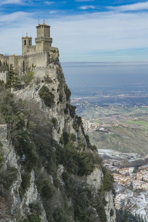 View at fortress of Guaita on Mount Titano, San Marino