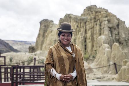 VALLE DE LA LUNA, BOLIVIA - JANUARY 10, 2018: Unidentified woman at Valle de la luna in Bolivia. Moon Valley is popular tourist destination near Bolivian capital La Paz. Editorial