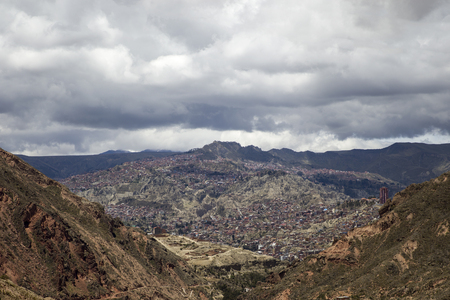 View at La Paz in Bolivia from the distance