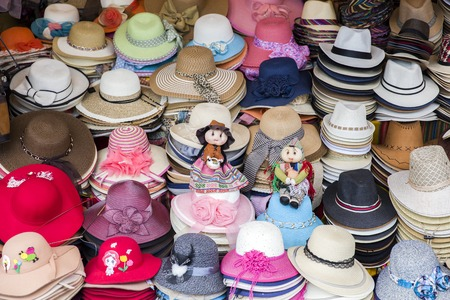 Colorful handcrafted souvenirs on the market in Copacabana, Bolivia Stock Photo