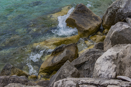 View at rocky shore on Adriatic sea in Montenegro Stock Photo