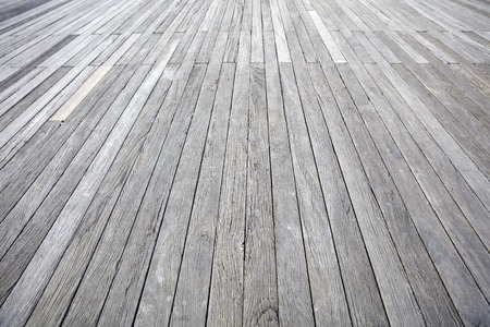 Closeup detail perspective view at wooden boardwalk