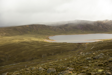 View at Laguna Milluni between La Paz and Chalcaltaya in Bolivia
