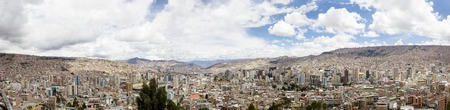 LA PAZ, BOLIVIA - JANUARY 10, 2018: Aerial view at La Paz, Bolivia. It is capital and  third largest Bolivian city Editorial