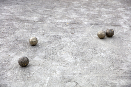 View at traditional bocce balls on the court