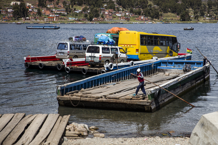 TITICACA, BOLIVIA - JANUARY 9, 2018: Ferry at Titicaca lake in Bolivia.