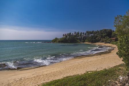 View at tropical beach at Matara, Sri Lanka Stock Photo
